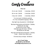 Comfy Creatures Price List